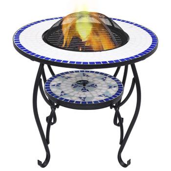vidaXL Mozaični stolić s ognjištem plavo-bijeli 68 cm keramički