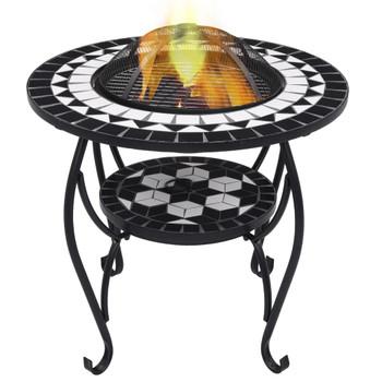 vidaXL Mozaični stolić s ognjištem crno-bijeli 68 cm keramički