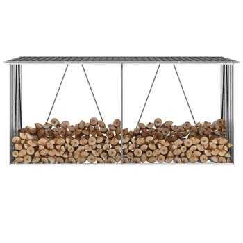VidaXL Vrtna ostava za drva pocinčani čelik 330 x 84 x 152 cm antracit