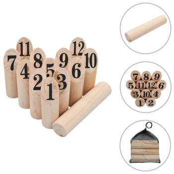 vidaXL Set za igru brojevima Kubb drveni