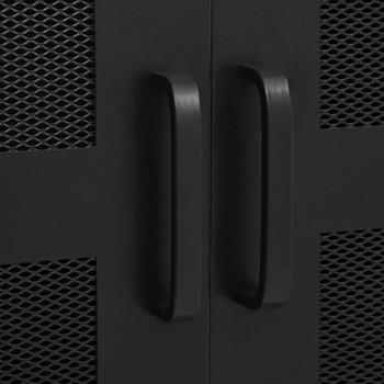 vidaXL Uredski ormarić s mrežastim vratima crni 75x40x120 cm čelični