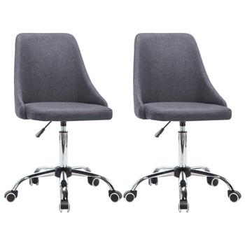 vidaXL Uredske stolice s kotačima 2 kom od tkanine tamnosive