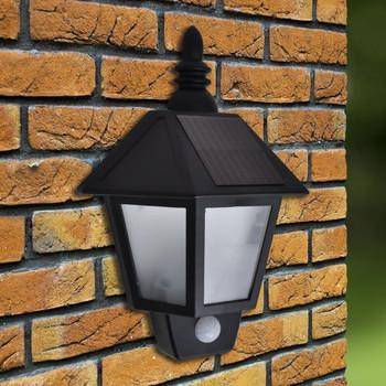vidaXL Solarne zidne svjetiljke 2 kom sa senzorom pokreta crne