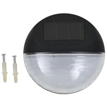 vidaXL Vrtne solarne zidne svjetiljke LED 24 kom okrugle crne