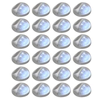 vidaXL Vrtne solarne zidne svjetiljke LED 24 kom okrugle srebrne