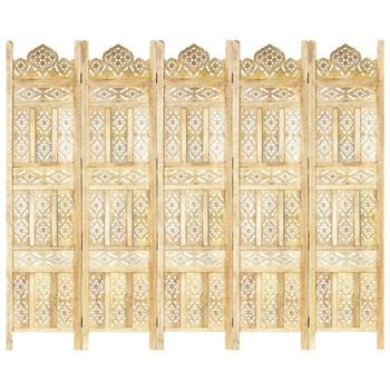 vidaXL Sobna pregrada s 5 panela 200 x 165 cm od masivnog drva manga