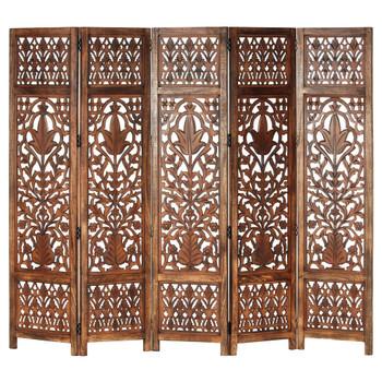 vidaXL Sobna pregrada s 5 panela smeđa 200x165 cm masivno drvo manga