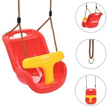 vidaXL Ljuljačka za bebe sa sigurnosnim pojasom PP crvena