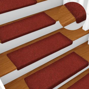 vidaXL Otirači za stepenice 15 kom prošiveni 65 x 25 cm crveni