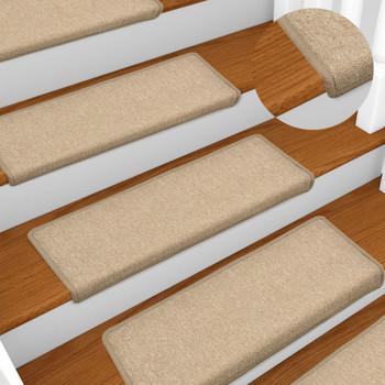 vidaXL Tepisi za stepenice 15 kom 65 x 25 cm smeđe-sivi