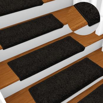 vidaXL Tepisi za stepenice 15 kom 65 x 25 cm crni
