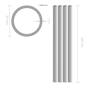 vidaXL Aluminijske cijevi 4 kom okrugle 2 m Ø 30 x 2 mm
