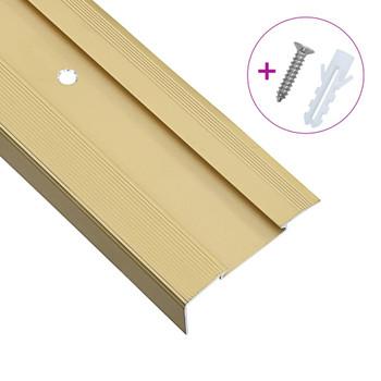 vidaXL Rubnjaci za stepenice L-oblika 15 kom aluminijski 134 cm zlatni