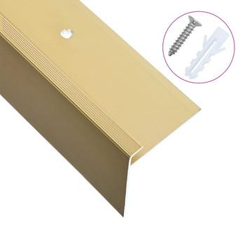 vidaXL Rubnjaci za stepenice F-oblika 15 kom aluminijski 100 cm zlatni
