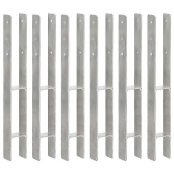 vidaXL Sidra za ogradu 6 kom srebrna 7 x 6 x 60 cm pocinčani čelik