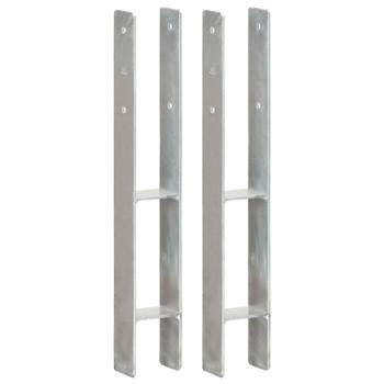 vidaXL Sidra za ogradu 2 kom srebrna 8 x 6 x 60 cm pocinčani čelik