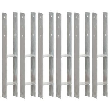 vidaXL Sidra za ogradu 6 kom srebrna 8 x 6 x 60 cm pocinčani čelik
