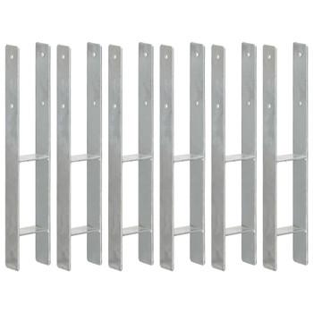 vidaXL Sidra za ogradu 6 kom srebrna 9 x 6 x 60 cm pocinčani čelik