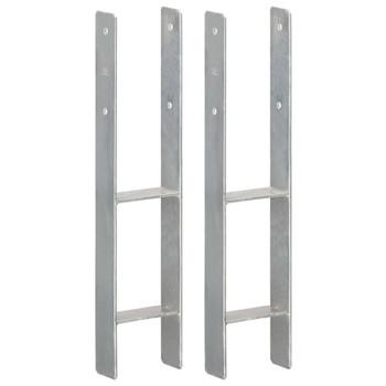 vidaXL Sidra za ogradu 2 kom srebrna 12 x 6 x 60 cm pocinčani čelik