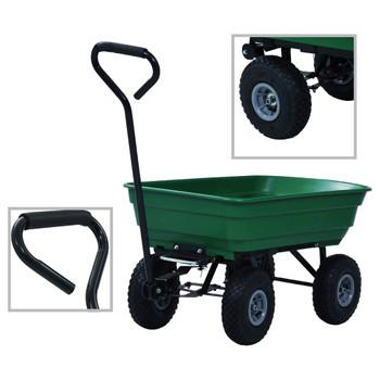 vidaXL Vrtna nagibna ručna kolica 300 kg 75 L zelena