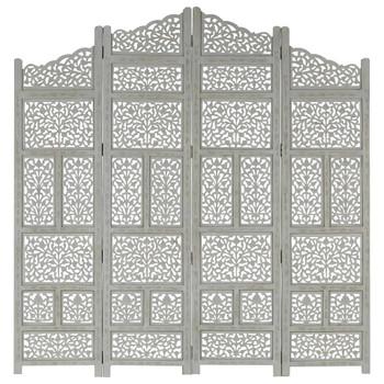 vidaXL Sobna pregrada s 4 panela siva 160 x 165 cm masivno drvo manga