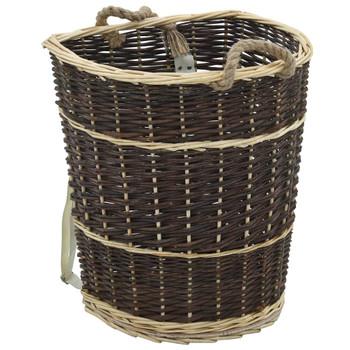 vidaXL Košara za drva za ogrjev s remenjem 44,5x37x50 cm prirodna vrba