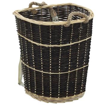vidaXL Košara za drva za ogrjev s remenjem 57x51x69 cm prirodna vrba