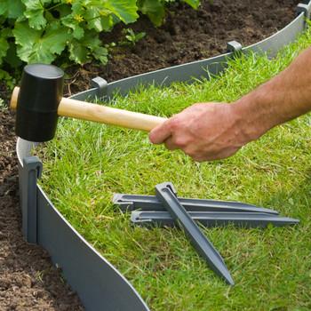 Nature vrtni klinovi za učvršćivanje 10 kom sivi