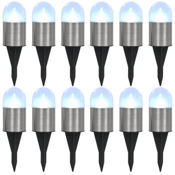 vidaXL Solarne podne svjetiljke s LED žaruljama 12 kom bijele