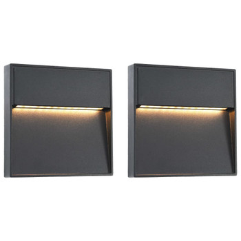 vidaXL Vanjske LED zidne svjetiljke 2 kom 3 W crne četvrtaste