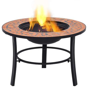 vidaXL Mozaična posuda za vatru boja cigle 68 cm keramička
