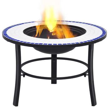 vidaXL Mozaična posuda za vatru plavo-bijela 68 cm keramička