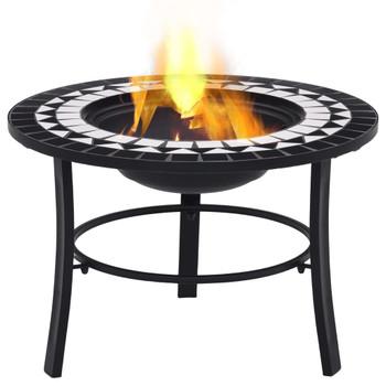 vidaXL Mozaična posuda za vatru crno-bijela 68 cm keramička