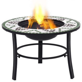 vidaXL Mozaična posuda za vatru zelena 68 cm keramička