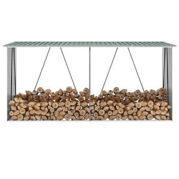 VidaXL Vrtna ostava za drva od pocinčanog čelika 330x84x152 cm zelena
