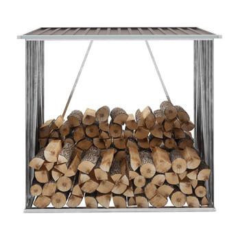 VidaXL Vrtna ostava za drva od pocinčanog čelika 163x83x154 cm smeđa