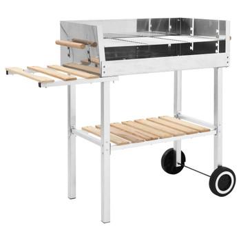 vidaXL XXL kolica za roštilj na drveni ugljen od nehrđajućeg čelika