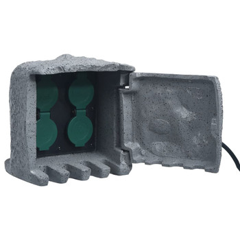 vidaXL Vrtni blok s 4 utičnice vodootporni od poliesterske smole sivi