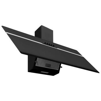 vidaXL Zidna napa 90 cm od nehrđajućeg čelika i kaljenog stakla crna