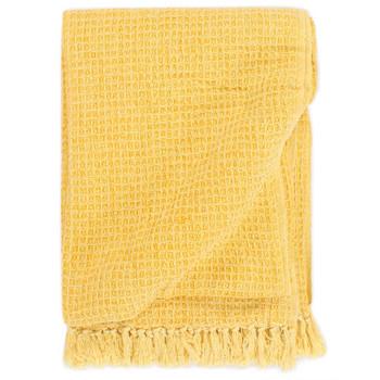 vidaXL Pamučni pokrivač 160 x 210 cm boja senfa