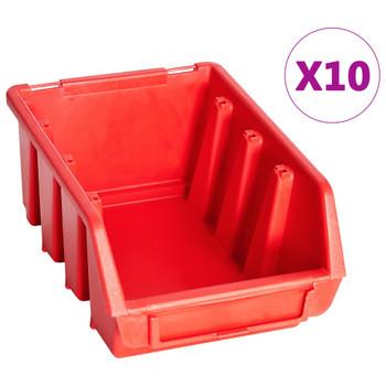 vidaXL 29-dijelni set kutija za pohranu sa zidnim pločama crveno-crni
