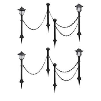 vidaXL Solarne svjetiljke 4 kom s lančanom ogradom i stupovima