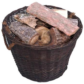 vidaXL 3-dijelni set košara za drva za ogrjev tamnosmeđi od vrbe