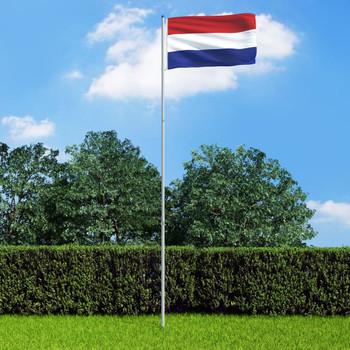 vidaXL Nizozemska zastava s aluminijskim stupom 6 m