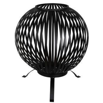 Esschert Design kugla za vatru prugasta crna od ugljičnog čelika FF400