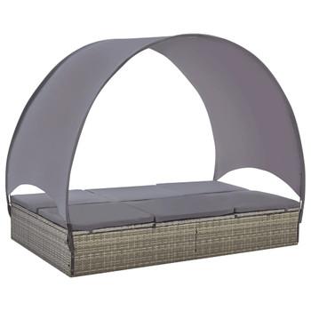 vidaXL Dvostruka ležaljka za sunčanje od poliratana s krovom siva