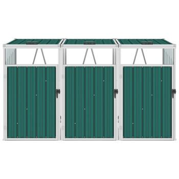 vidaXL Spremište za 3 kante za smeće zeleno 213 x 81 x 121 cm čelično