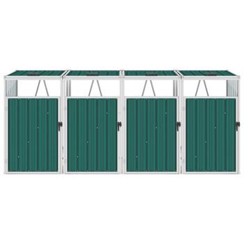 vidaXL Spremište za 4 kante za smeće zeleno 286 x 81 x 121 cm čelično