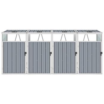 vidaXL Spremište za 4 kante za smeće sivo 286 x 81 x 121 cm čelično