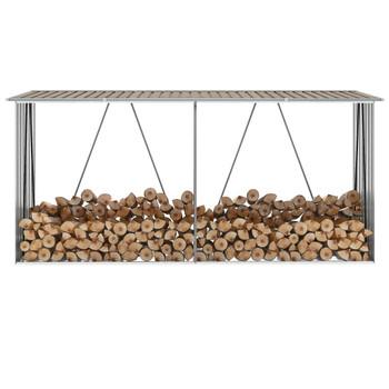 VidaXL Vrtna ostava za drva od pocinčanog čelika 330x84x152 cm smeđa